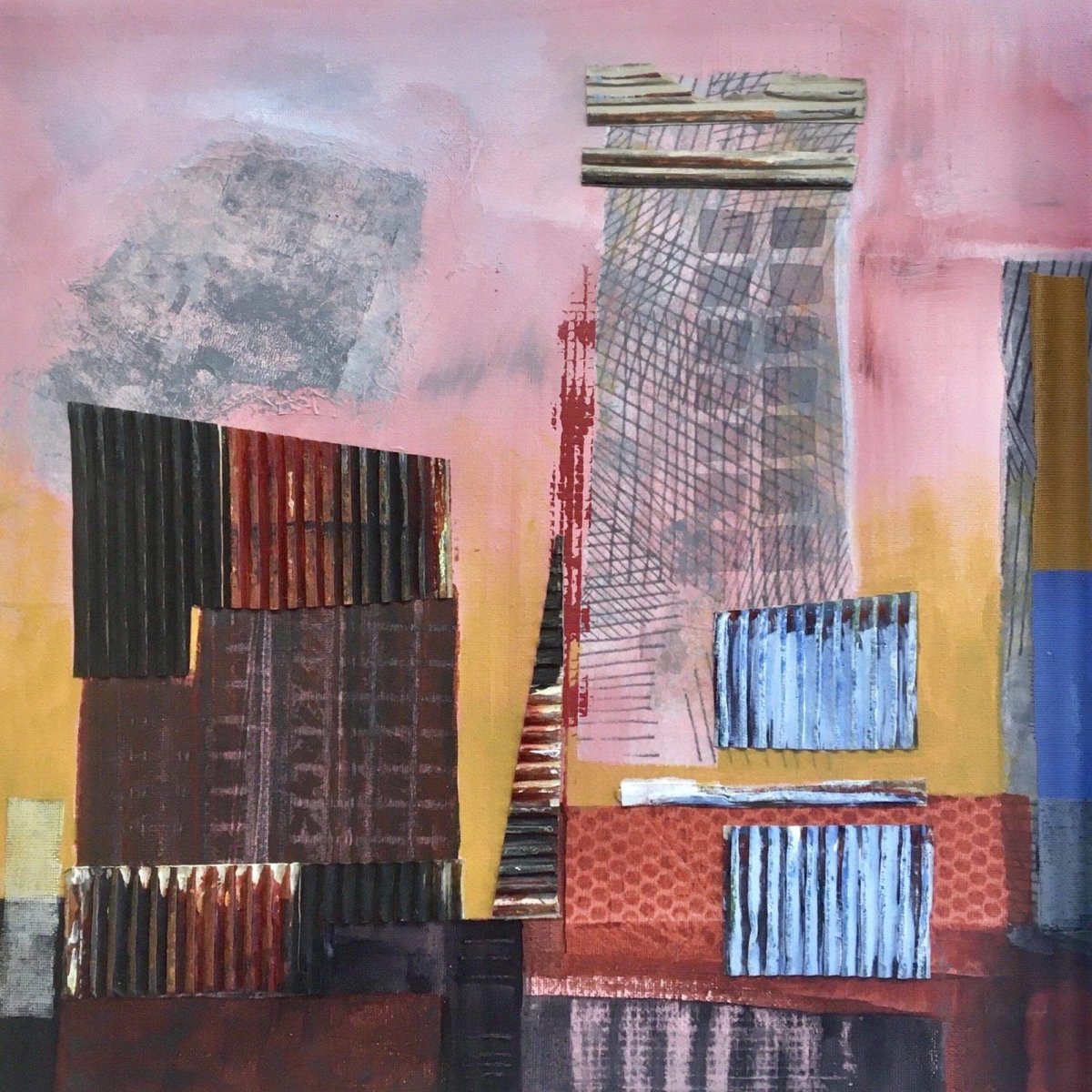 Diagonal St., Jozi. Acrylic and collage on canvas. 40 x 40 cms.